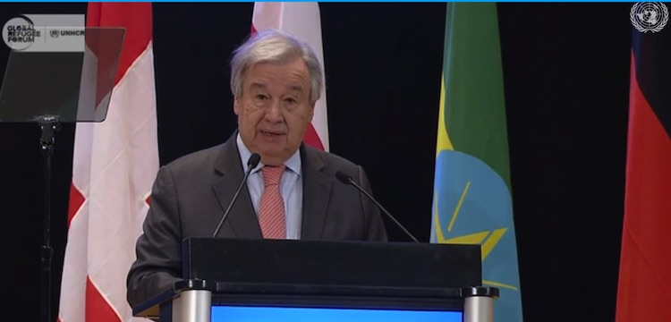 Photo: UN Secretary-General addressing Global Refugee Forum. Screenshot UN WebTV.