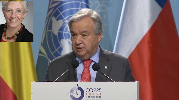 Photo: Collage of Inge Kaul's photo (left top – Credit: UNESCO) mounted on UN Chief Guterres' addressing the opening of COP25 (Credit: twitter.com/antonioguterres)