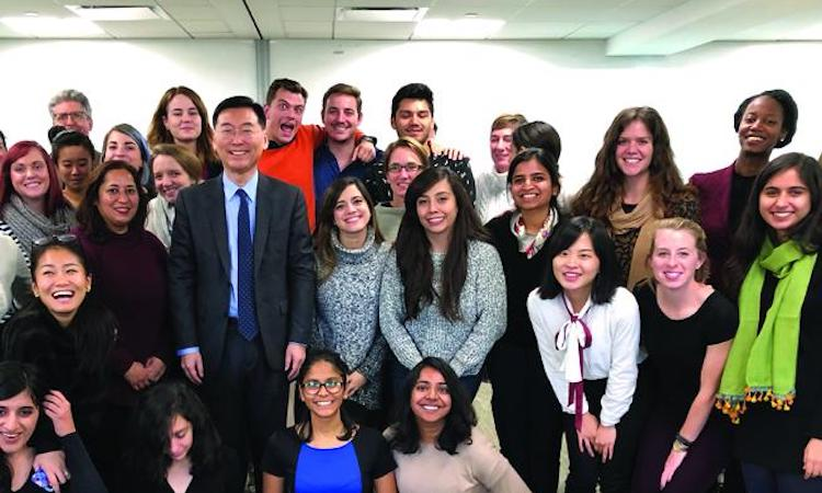 Photo: Ambassador Hahn with MA students from Harvard University majoring in international education policy. He gave them a special lecture on global citizenship. Credit: Hyun June Chung, MA student from Harvard University.