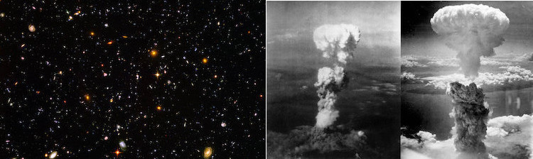 Image: Collage of Hubble Ultra Deep Field includes galaxies of various ages, sizes, shapes, and colours (left) and Atomic bombings of Nagasaki.