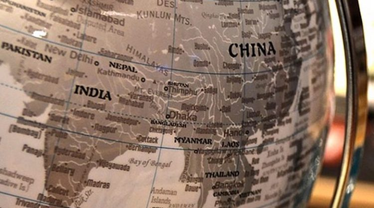 Image: China Nepal Pakistan India Globe Map South Asia