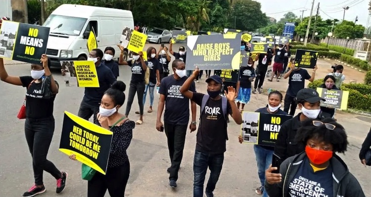 Photo: Nigerians troop out to protest the scourge of rape ravaging the country. Credit: town_crierng