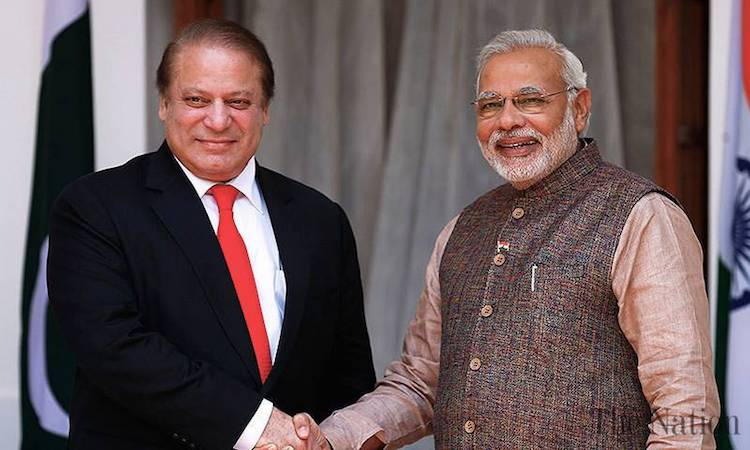 Photo: Prime Minister Nawaz Sharif had a brief interaction with his India counterpart Narendra Modi on the sidelines of a meeting of the Heads of State Council of the Shanghai Cooperation Organisation (SCO) in Astana. Credit: The Nation, Pakistan.