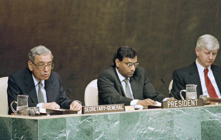 Photo: Opening of the Review and Extension Conference of the Treaty on Non-Proliferation of Nuclear Weapons, United Nations Headquarters, New York, 17 April 1995. Seated on the podium from left to right: UN Secretary-General Boutros Boutros-Ghali; President of the Conference, Ambassador Jayantha Dhanapala (Sri Lanka); Secretary-General of the Conference, Prvoslav Davinić. Credit: UN Photo by Evan Schneider # 68537.