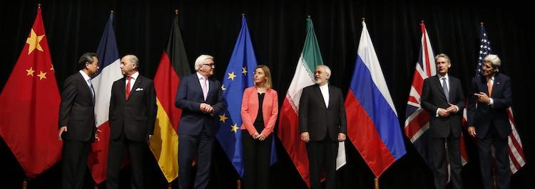 Photo: The foreign ministers from Iran and the countries of the P5+1, as well as the High Representative of the EU for Foreign Affairs and Security Policy, after agreeing the Iran Nuclear deal, 14 July 2015. Courtesy of Dragan Tatic/Wikimedia.