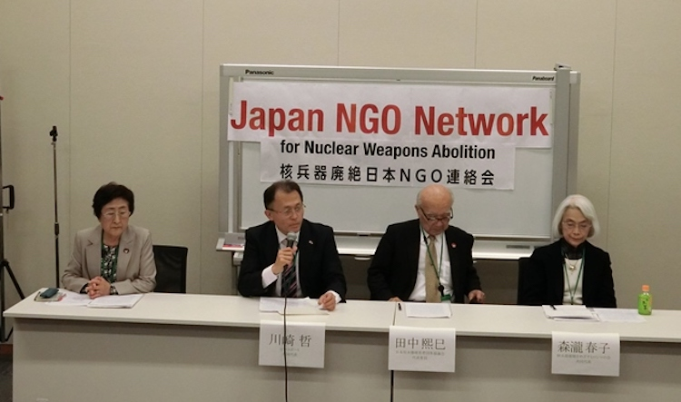 Photo (left to right): Michiko Kodama, Assistant Secretary General of Nihon Hidankyo (Japan Confederation of A- & H- Bomb Sufferers' Organizations); Akira Kawasaki, Executive Committee Member, Peace Boat and an international steering committee member of ICAN; Terumi Tanaka, co-chairperson of Nihon Hidankyo (Japan Confederation of A- & H- Bomb Sufferers' Organizations); Haruko Moritaki, co-director of Hiroshima Alliance of Nuclear Weapons Abolition (HANWA). Credit: Katsuhiro Asagiri | IDN-INPS