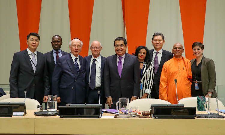 Photo: Panelists in the April 24 event, including Kazakh Vice-Minister Berik Aryn (extreme left), UNAOC High Representative Al-Nasser (centre), and Ambassador Kairat Umarov, the Kazakh Permanent Representative to the UN (third from right at the back). Credit: Kazakh Permanent Mission to the UN Headquarters in New York.