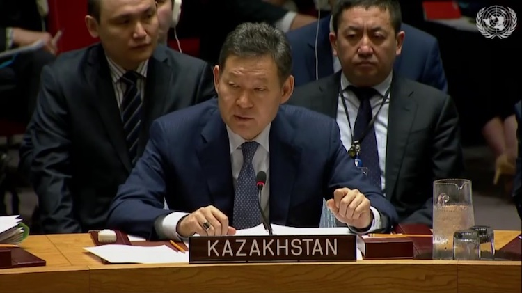 Photo: Ambassador Kairat Umarov, Kazakh Permanent Representative to the UN, addressing the Security Council. Credit: Kazinform