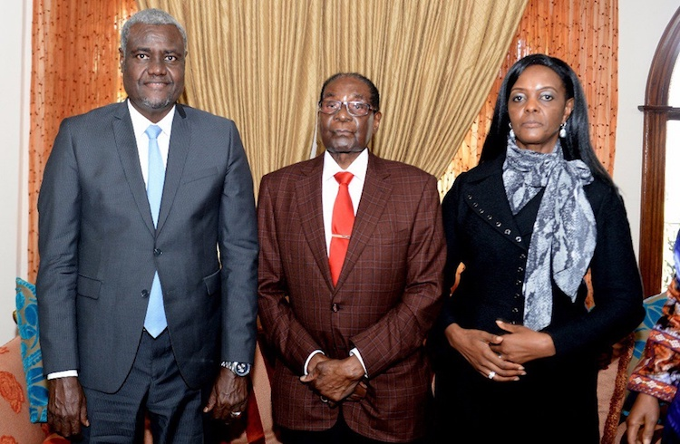Photo: African Union Commission chief M.F. Mahamat, former Zimbabwe President Robert Mugabe and his wife, Grace Mugabe. Credit. ityazo.com