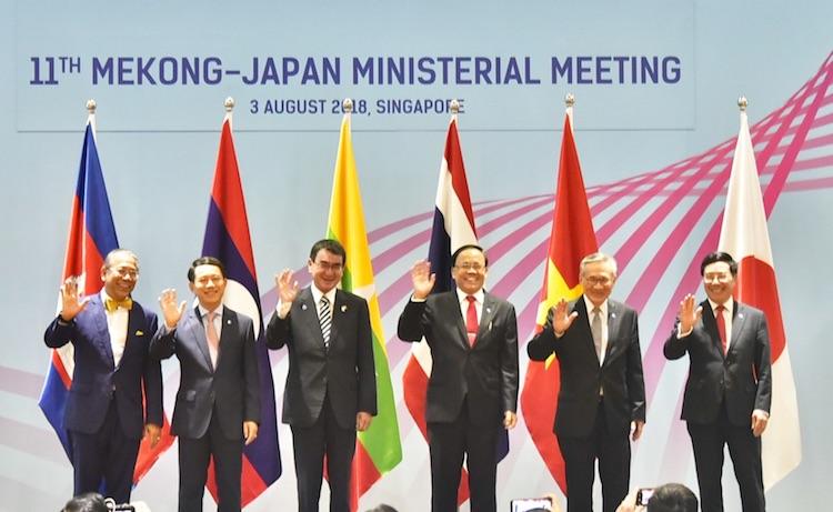 Photo: The 11th Mekong-Japan Ministerial Meeting on August 2-3, 2018 in Singapore, with Taro Kono, Minister for Foreign Affairs of Japan serving as chair. Attendees included: Sok Siphana, Advisor to the Royal Government of Cambodia; Saleumxay Kommasith, Minister of Foreign Affairs of Laos; Kyaw Tin, Minister for International Cooperation of Myanmar; Don Pramudwinai, Minister of Foreign Affairs of the Kingdom of Thailand; and Pham Binh Minh, Deputy Prime Minister and Minister of Foreign Affairs of Viet Nam. Credit: Ministry of Foreign Affairs of Thailand.