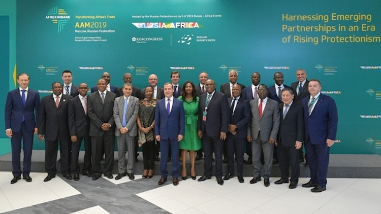 Photo: Prime Minister Dmitry Medvedev with participants of the Russia-Africa Economic Conference on 21 June 2019 in Moscow. Credit: The Russian government website.