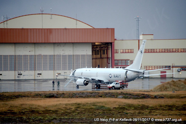 Photo: U.S. Navy Poseidon P-8A at Keflavik. 8 November 2017. Credit: b737.org.uk