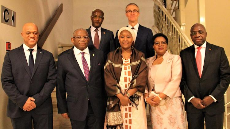 Photo: 1st row (L-R): Mr. Luis Filipe Lopes Tavares, President of the Community of Portuguese Language Countries (CPLP) Council of Ministers; ACP Secretary General Georges Rebelo Pinto Chikoti; Ambassador Mrs. Teneng  Mba Jaiteh, Chairperson of the Committee of Ambassadors; Mrs. Chikoti; Ambassador. Mr. Tete Antonio, Secretary of State of the Republic of Angola; 2nd row: (L-R) Ambassador Awad Sakine Ahmat, Representative of the African Union in Belgium; Mr Koen Doens, Director General, International Cooperation and Development and Representative of the European Union.