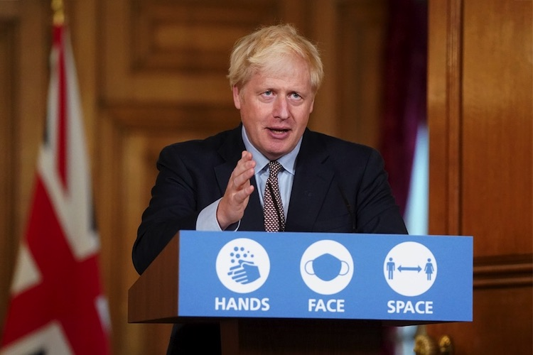 Photo: Prime Minister Boris Johnson making a statement at the coronavirus press conference on September 9.