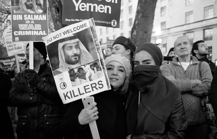 Photo: After over 1,000 days into the Saudi bombing of Yemen, which is almost entirely UK/US equipped and supported, the first large protest took place in London in Match 2018 outside Downing Street. CC BY-SA 2.0