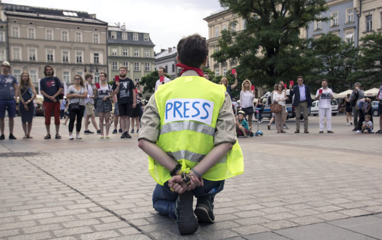Photo: Protesting for freedom of the press. Source: Global Investigative Journalism Network
