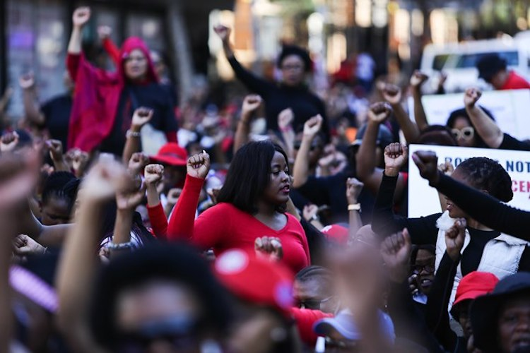 Photo: #TheTotalShutdown organisers said they were seeking legal advice after they were instructed to hand themselves over to the police. Credit: Alaister Russel | Times Live, South Africa's news website.