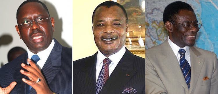 Collage: Photos of Senegal President Mackey Sall, the Republic of Congo Denis Sassou Nguesso, and President Teodoro Obiang Nguema of Equatorial Guinea.