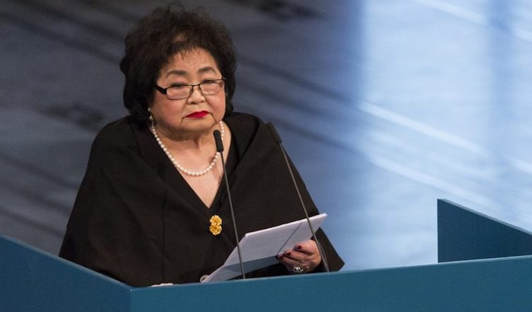 Photo: Setsuko Thurlow delivering her Nobel Peace Prize acceptance speech. Credit. Norwegian Nobel Committee.