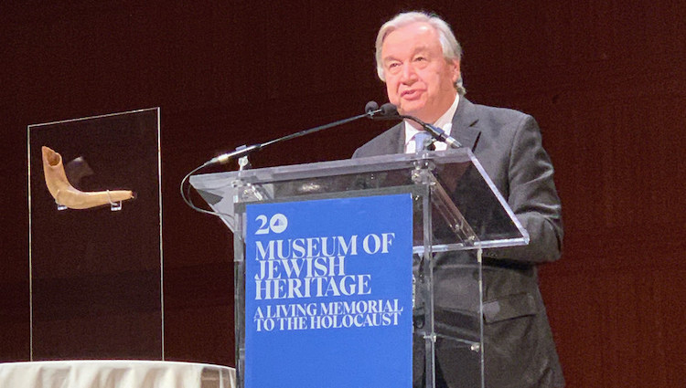 Photo: Secretary-General António Guterres delivers a keynote address at the 81st Anniversary Commemoration of Kristallnacht at the Museum of Jewish Heritage, in New York. Credit: UN/Antonio Ferrari.