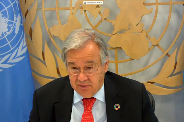 Photo: Secretary-General António Guterres during the virtual town hall with women's civil society organizations. Credit: screengrab, UN Web TV