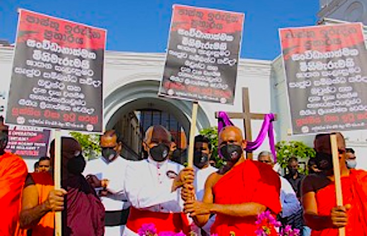 Photo: Catholics, Buddhists and Muslims hold silent protest to demand the truth about the Easter Sunday massacre. Credit: SL Time, Colombo Page News Desk.
