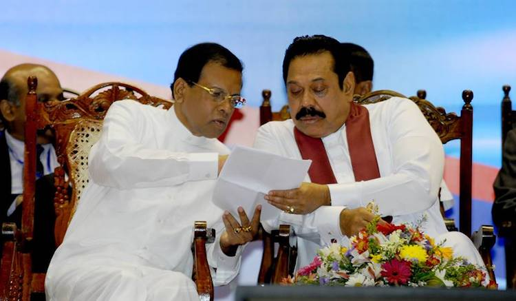 Photo: Sri Lankan President Maithripala Sirisena with his political foe of recent years, Mahinda Rajapakse. Source: Colombo Telegraph.