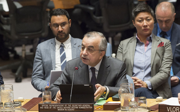 Photo: Zahir Tanin, Special Representative of the Secretary-General and Head of the United Nations Interim Administration Mission in Kosovo (UNMIK), briefs the Security Council. UN Photo/Eskinder Debebe