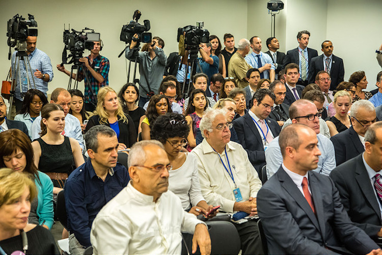 Photo: A view of the press conference at the UN in New York. Source: UNCA