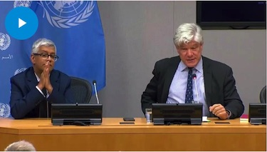 Screenshot of Press Conference by Mr. Fabrizio Hochschild, Special Adviser on the Preparations for the Commemoration of the Seventy-Fifth Anniversary of the United Nations. Credit: UN Web TV