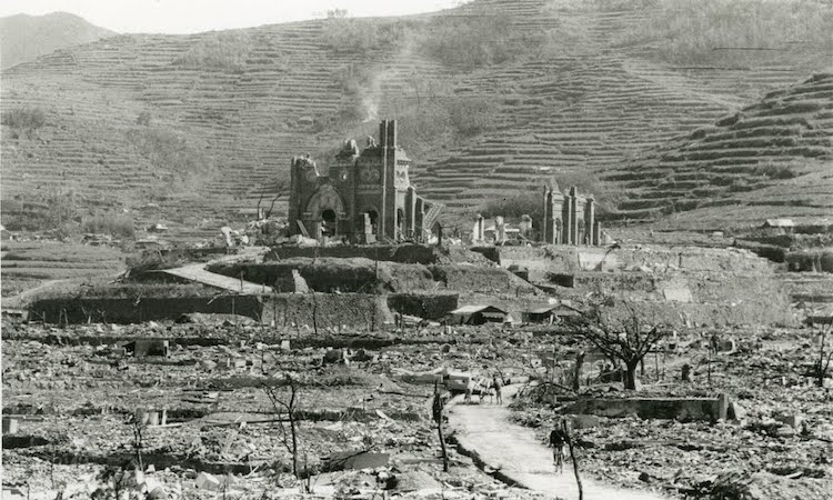 Photo: Atomic Bombing in Nagasaki and the Urakami Cathedral. Credit: Google Arts&Culture