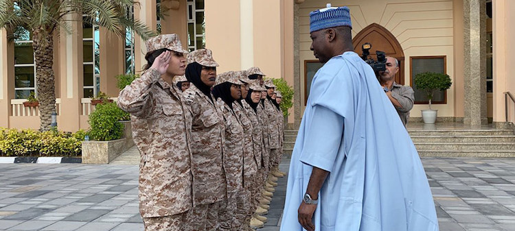 Photo: UN General Assembly President Tijjani Muhammad-Bande meets cadets participating in a military and peacekeeping training programme at Khawla bint Al Azwar Military Academy for Women in Abu Dhabi. Credit: UN