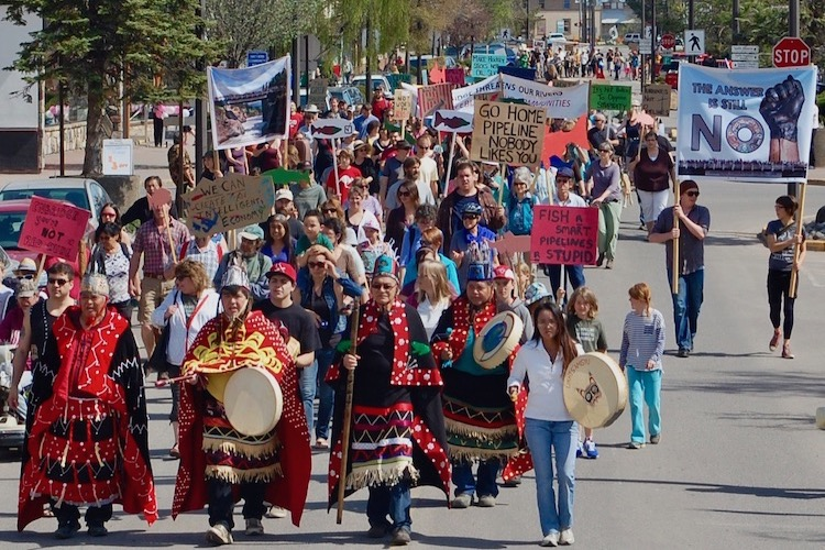 Photo: People march against pipelines in Smithers, British Columbia, in May 2014. Credit: Office of the Wet'suwet'en/Francois Depey. Source: indianz.com