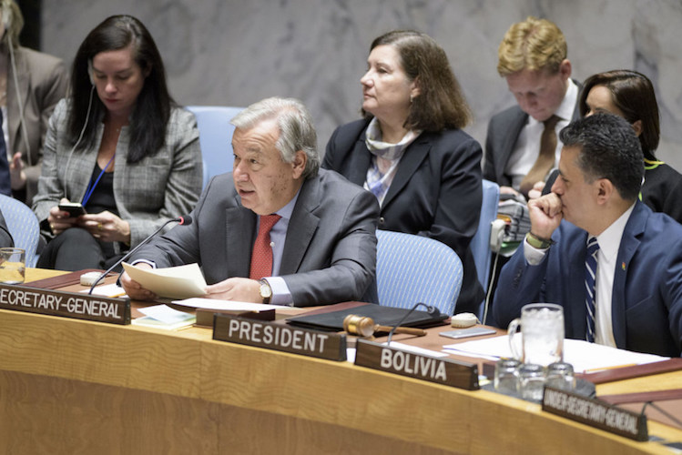 Photo: Secretary-General António Guterres (centre) briefs the Security Council meeting on women and peace and security. UN Photo/Manuel Elias.